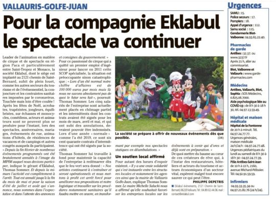 Article Nice Matin Mai 2020